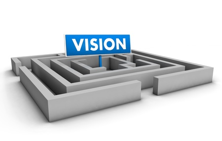 Vision concept with labyrinth and blue goal sign on white background  Stock Photo - 12431983