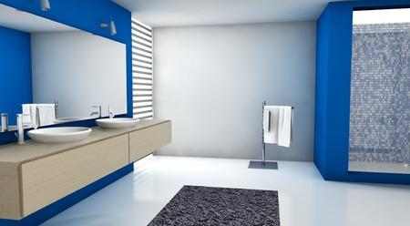 Ba�o contempor�nea con un dise�o moderno y mobiliario, de color azul, el arce y el blanco, representaci�n 3D Foto de archivo