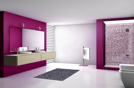 Contemporary bathroom with modern design and furniture, colored in red, maple and white, 3d rendering  Stock Photo