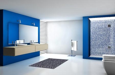 modern bathroom: Contemporary bathroom with modern design and furniture, colored in blue, maple and white, 3d rendering
