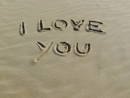 Summer love concept with I love you sign on the sea shore  photo