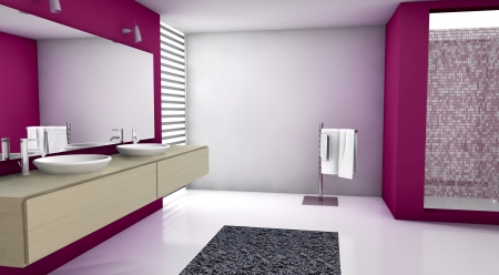 Contemporary bathroom with modern design and furniture, colored in red, maple and white, 3d rendering  photo