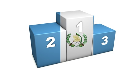 Guatemalan sports competition top positions podium  3d rendering for concept   the best of Guatemala   Isolated on white Stock Photo - 12432113