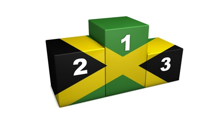 Jamaican sports competition top positions podium  3d rendering for concept   the best of Jamaica   Isolated on white Stock Photo