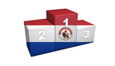 bandera de paraguay: Olímpico Paraguayo primeras posiciones de representación 3d podio para el concepto de lo mejor de Paraguay aislado en blanco
