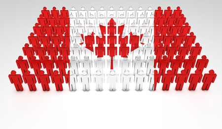 canadian state flag: Parade of 3d people forming a top view of Canadian flag  With copyspace  Stock Photo