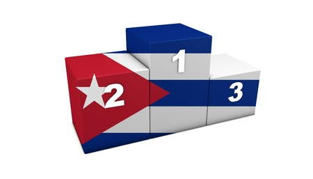 Cuban olympic top positions podium  3d rendering for concept   the best of Cuba   Isolated on white  photo