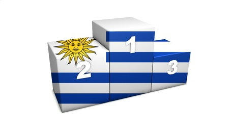 bandera de uruguay: Olímpico Uruguayo primeras posiciones de representación 3d podio para el concepto de lo mejor de Uruguay aislado en blanco