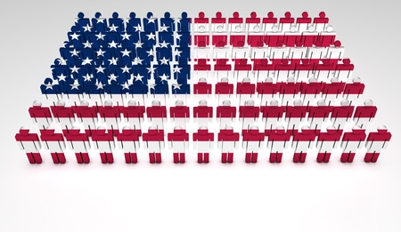 america flag: Parade of 3d people forming a top view of United States of America flag  With copyspace