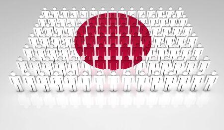 bandera japon: Desfile de las personas que forman 3d una vista superior de la bandera japonesa con copyspace