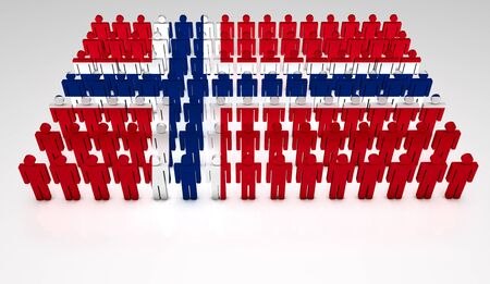 Parade of 3d people forming a top view of Norwegian flag  With copyspace  Stock Photo - 12761938