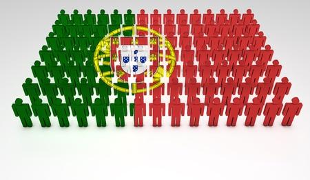 drapeau portugal: Parade de personnes 3d formant une vue de dessus du Portugal drapeau Avec copyspace