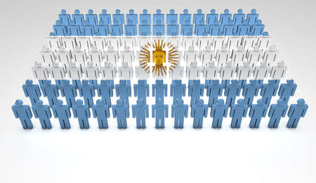 argentinian flag: Parade of 3d people forming a top view of Argentinian flag  With copyspace  Stock Photo