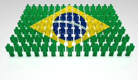 brazilian flag: Parade of 3d people forming a top view of Brazilian flag  With copyspace