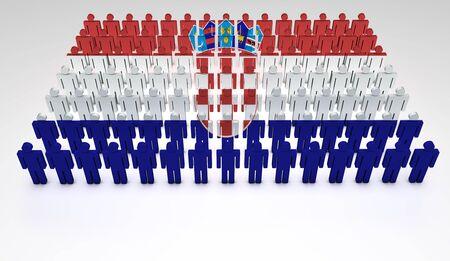 bandera de croacia: Desfile de las personas que forman 3d una vista superior de la bandera croata con copyspace