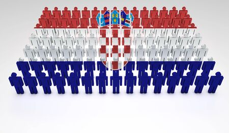 statehood: Parade of 3d people forming a top view of Croatian flag  With copyspace