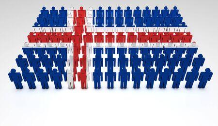 icelandic flag: Desfile de las personas que forman 3d una vista superior de la bandera de Islandia con copyspace