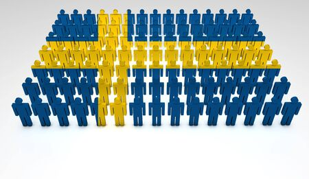 education in sweden: Parade of 3d people forming a top view of Swedish flag  With copyspace
