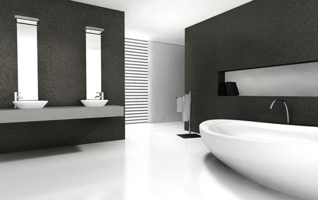 mobili bianco e nero: arredamento moderno in bianco e nero ... - Bagni Moderni Neri