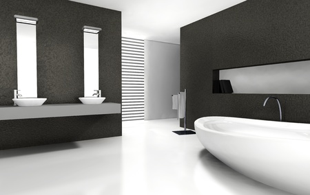 bathrooms: Bathroom with modern and contemporary design and furniture in black and white, 3d rendering
