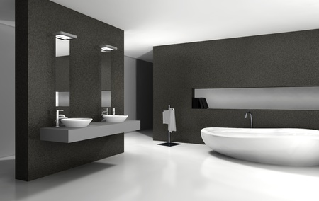 Bathroom with modern and contemporary design and furniture in black and white, 3d rendering  photo