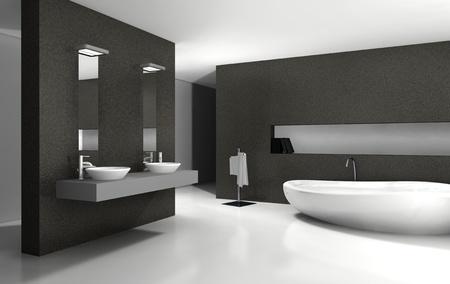 cuarto de ba�o: Cuarto de ba�o con un dise�o moderno y contempor�neo y muebles en blanco y negro, representaci�n 3D