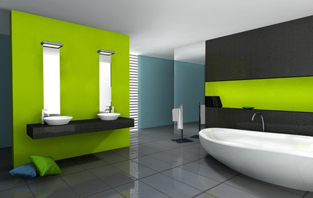Bathroom with modern and contemporary design and furniture colored in green, black and cyan, 3d rendering