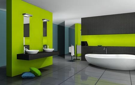 piastrelle bagno: Bagno con design moderno e contemporaneo e arredi colorati in verde, nero e ciano, rendering 3d Archivio Fotografico