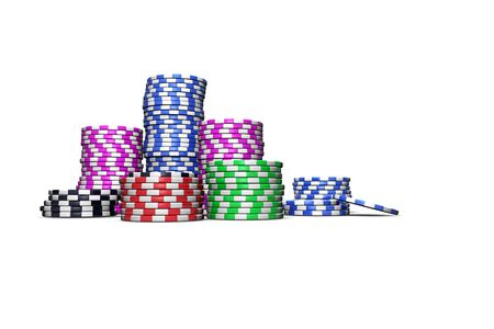 fichas casino: Fichas de casino de colores sobre fondo blanco para revistas, carteles, páginas web, folletos, etc Foto de archivo