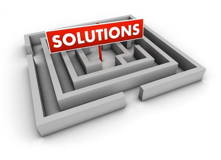 Solutions concept with labyrinth and red goal sign on white background Stock Photo - 12929457