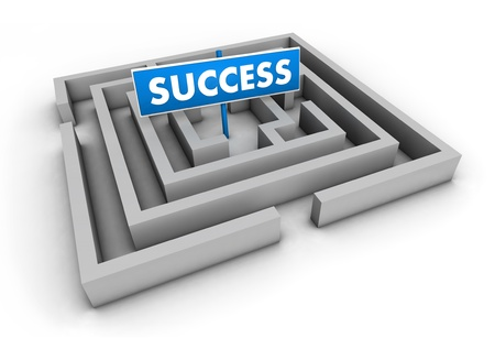 Success concept with labyrinth and blue goal sign on white background  photo