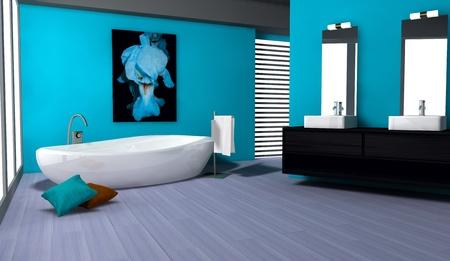 Cuarto de ba�o con un dise�o moderno y contempor�neo y muebles de color verde con parquet, representaci�n 3D photo