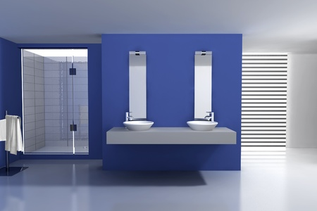 Bathroom with modern and contemporary design and furniture, colored in blue and white, 3d rendering  Stock Photo