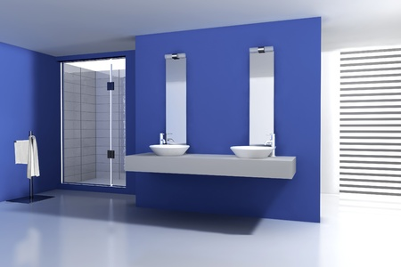 Cuarto de ba�o con un dise�o moderno y contempor�neo y muebles, coloreado en azul y blanco, representaci�n 3D Foto de archivo