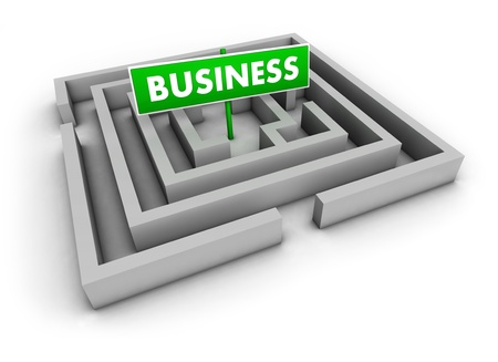 Business concept with labyrinth and green goal sign on white background Stock Photo - 13055692