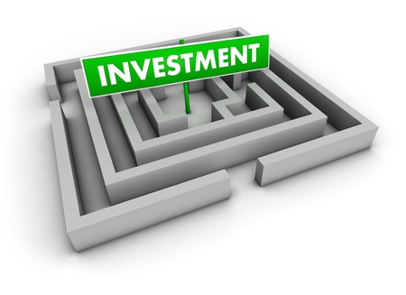 Investment concept with labyrinth and green goal sign on white background Stock Photo - 13055691