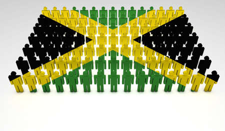 Parade of 3d people forming a top view of Jamaican flag  With copyspace  photo