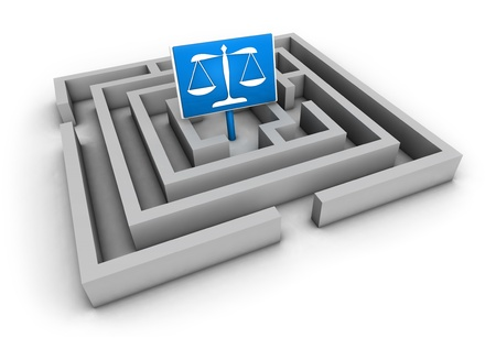 legal services: Justice concept with labyrinth and blue balance symbol on white background  Stock Photo