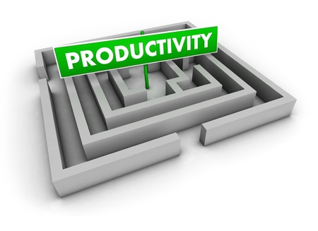 Productivity concept with labyrinth and green goal sign on white background  photo