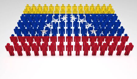 bandera de venezuela: Desfile de las personas que forman 3d una vista superior de la bandera de Venezuela con copyspace