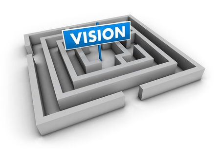 Vision concept with labyrinth and blue goal sign on white background  photo
