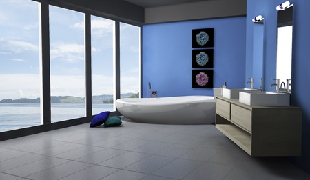 Blue bathroom with modern and contemporary design and furniture with lake view, 3d rendering  Stock Photo