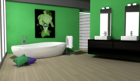 Bathroom with modern and contemporary design and furniture colored in green with parquet, 3d rendering  photo