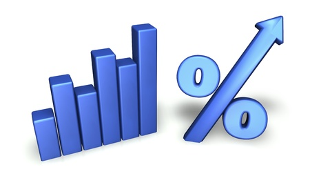 bar graph: Growing concept with green bar graph and percentage symbol