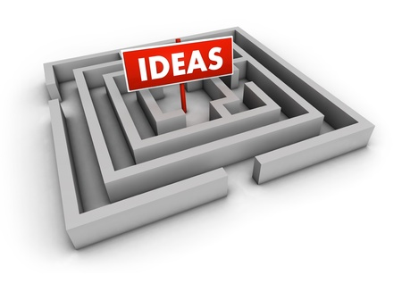 Ideas concept with labyrinth and red goal sign on white background  photo