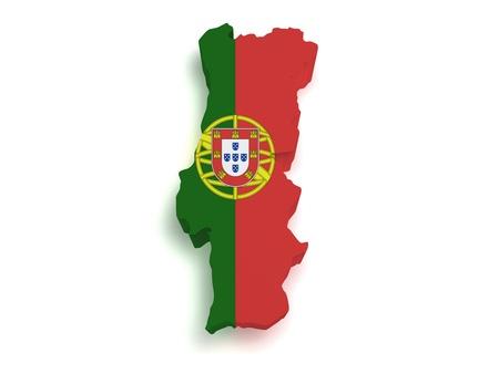 drapeau portugal: 3d forme du drapeau portugais et carte isol�e sur fond blanc