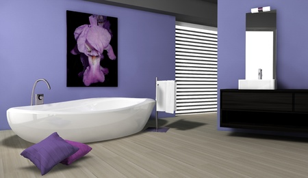 Bathroom with contemporary design and furniture colored in blue with parquet and canvas, 3d rendering  photo