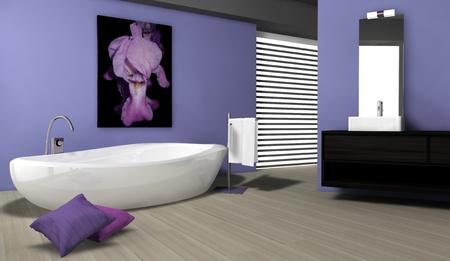 Cuarto de ba�o con un dise�o contempor�neo y muebles de color de azul, con parquet y lienzo, representaci�n 3D