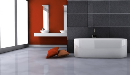 Bathroom with contemporary design and furniture colored in red and black, 3d rendering