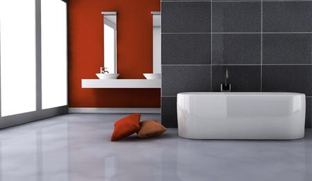 cuarto de ba�o: Cuarto de ba�o con un dise�o contempor�neo y muebles de color en rojo y negro, representaci�n 3D
